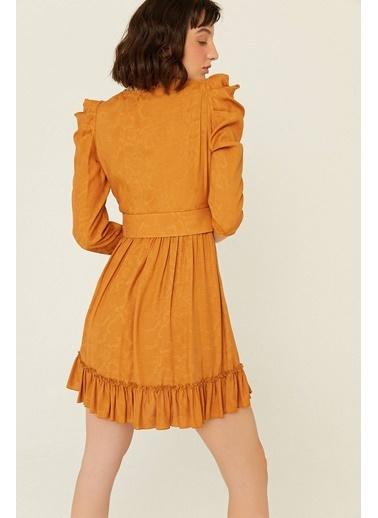 Rue Kemer Detaylı Kruvaze Elbise Taba